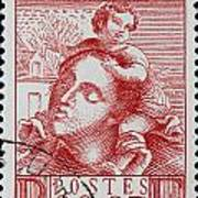 old French postage stamp Art Print