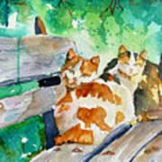 3 On A Bench Art Print