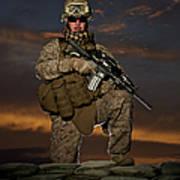 Portrait Of A U.s. Marine In Uniform Art Print by Terry Moore