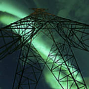 Powerlines And Aurora Borealis Art Print
