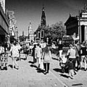 Shoppers And Tourists On Princes Street Edinburgh Scotland Uk United Kingdom Art Print