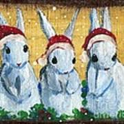 3 Shy Santa Bunnies Art Print