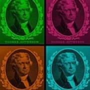 Thomas Jefferson In Quad Colors Art Print