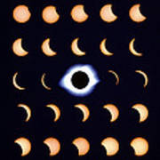 Timelapse Image Of A Total Solar Eclipse Art Print