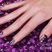 Woman Hand With Purple Nail Polish Art Print