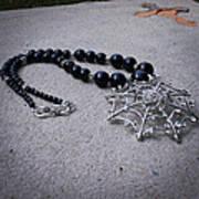 3596 Spiderweb Rhinestone Pendant Necklace Art Print