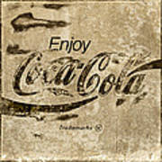 Coca Cola Sign Grungy Retro Style Art Print