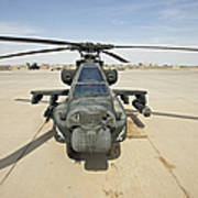 An Ah-64d Apache Helicopter At Cob Art Print