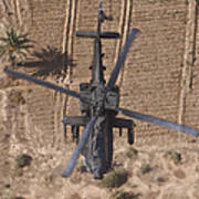 An Ah-64d Apache Helicopter In Flight Art Print