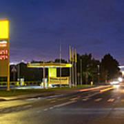 Estonian Gas Station At Night Print by Jaak Nilson