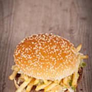 Fat Hamburger Sandwich Art Print by Sabino Parente