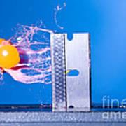 Paintball Shot At Razor Blade Art Print