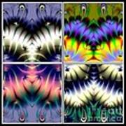 4 Panel Look Hearts Ud Fractal 64 Art Print