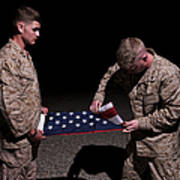 U.s. Marines Fold The American Flag Art Print