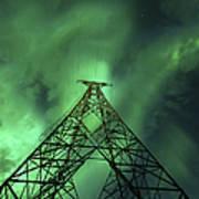Powerlines And Aurora Borealis Art Print by Arild Heitmann