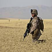 U.s. Marine Patrols A Wadi Near Kunduz Art Print