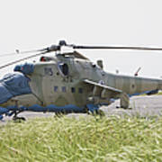 An Mi-35 Attack Helicopter At Kunduz Art Print