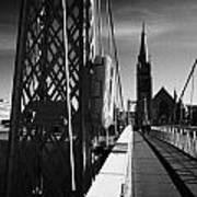 Pedestrian Suspension Footbridge The Greig Street Bridge Over The River Ness Inverness Highland Scot Print by Joe Fox