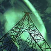 Powerlines And Aurora Borealis Art Print by Arild Heitmann