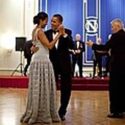 President And Michelle Obama Dance Art Print by Everett