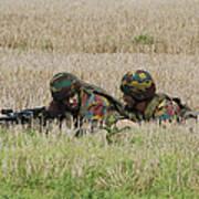 Belgian Paratroopers On Guard Art Print