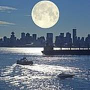 Full Moon Over Vancouver Art Print