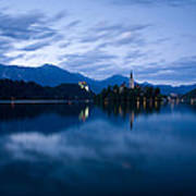 Dusk Over Lake Bled Art Print