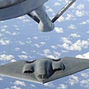 A B-2 Spirit Approaches The Refueling Art Print by Stocktrek Images