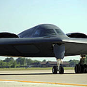 A B-2 Spirit Taxis Onto The Flightline Art Print