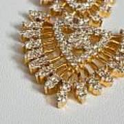 A Beautiful Gold And Diamond Pendant On A White Background Art Print