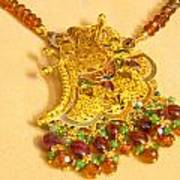 A Beautiful Intricately Carved Gold Pendant Hanging From A Semi-precious Stone Chain Art Print