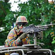 A Belgian Army Soldier Handling Art Print