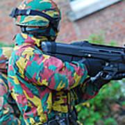 A Belgian Paratrooper  Handling The Fn Art Print by Luc De Jaeger