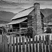 A Black And White Photograph Of An Appalachian Mountain Cabin Art Print