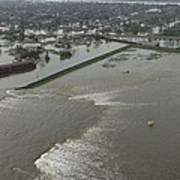 A Breech In A New Orleans Levee Floods Art Print