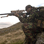 A British Soldier Armed With A Sniper Art Print