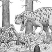 A Ceratosaurus Chasing Young Art Print