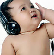 A Chubby Little Girl Listen To Music With Headphones Art Print