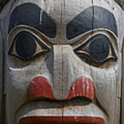 A Close View Of The Carvings Of A Totem Art Print