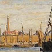 A Continental Harbor Art Print by William Lionel Wyllie