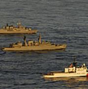 A Convoy Of Naval Ships Move Art Print
