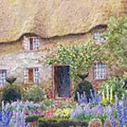 A Cottage Garden In Full Bloom Art Print