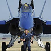 A Crew Chief Sprints Ahead Of A Blue Art Print