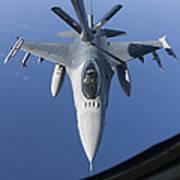 A Dutch F-16am Conducts In-flight Art Print