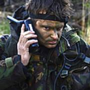 A Dutch Patrol Commander Communicates Art Print