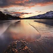 A Frozen Straumen Lake On Tjeldoya Art Print by Arild Heitmann