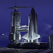 A Futuristic Space Shuttle Awaits Art Print by Walter Myers