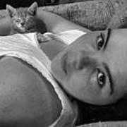 A Girl And Her Kitten Art Print by Juliana  Blessington