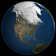 A Global View Over North America Art Print