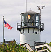 A Hawk Sits Next To Weather Instruments On Top Of Chatham Lighth Art Print